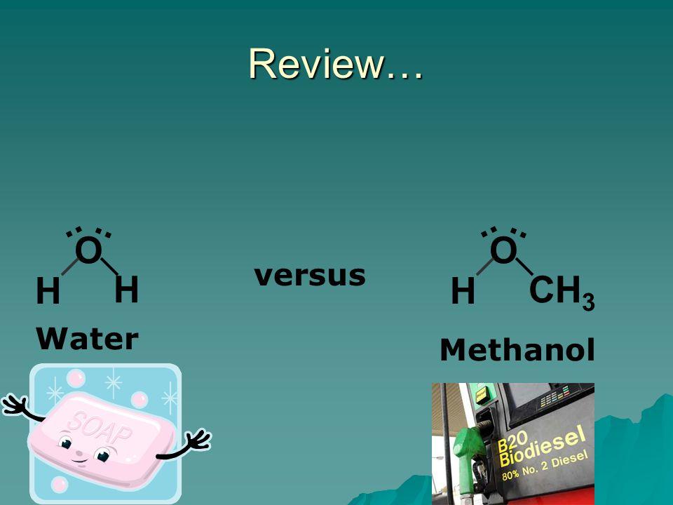 Review… O H H.. Water O CH 3 H.. Methanol versus