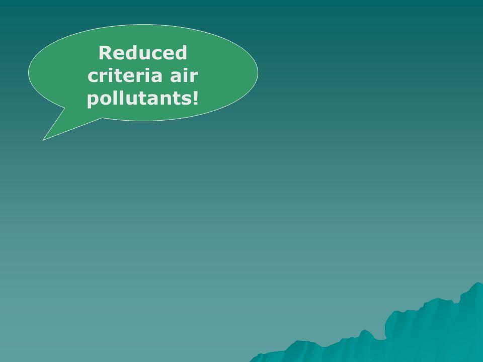 Reduced criteria air pollutants!