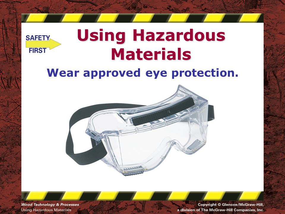 Using Hazardous Materials Wear approved eye protection.