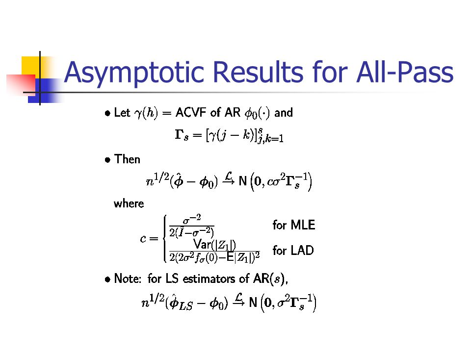Asymptotic Results for All-Pass