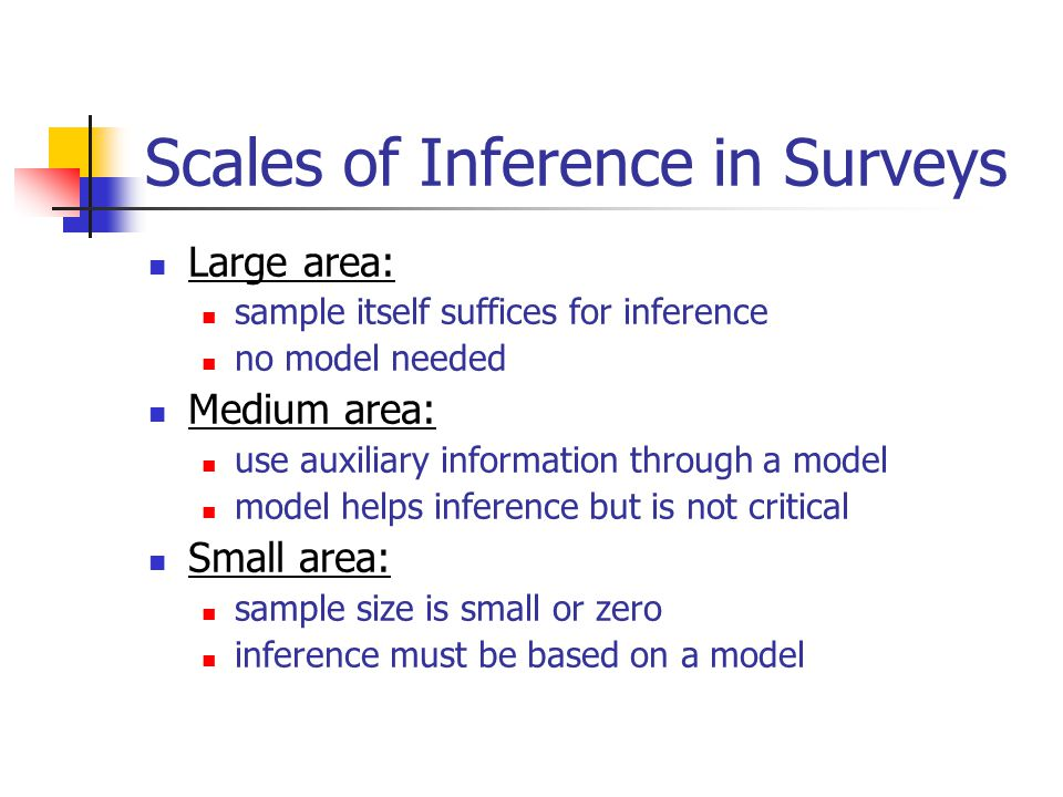 Specific and Generic Inference Specific: one study variable, few population parameters lots of modeling resources to specify, estimate, and diagnose a model willingness to defend the model Generic: many study variables, many population parameters no resources to model every variable no single model is adequate/defensible