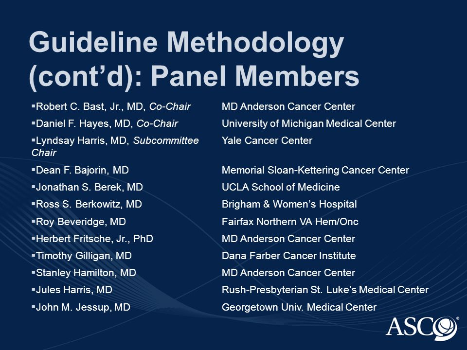 Guideline Methodology (cont'd): Panel Members  Robert C.