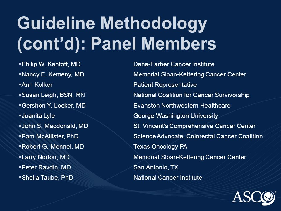Guideline Methodology (cont'd): Panel Members  Philip W.