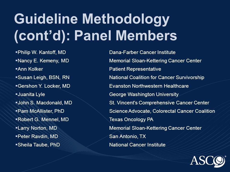 Guideline Methodology (cont'd): Panel Members  Philip W.