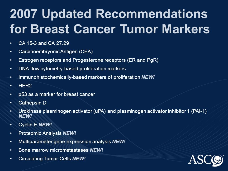 CA 15-3 and CA 27.29 as Markers for Breast Cancer Screening CA 15-3 and CA 27.29 are not recommended to use as screening tests for breast cancer.