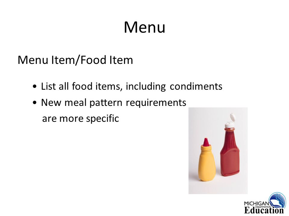 Actual # of Servings Record the actual number of portions served for student, a'la carte, and adult portions of each menu item 18