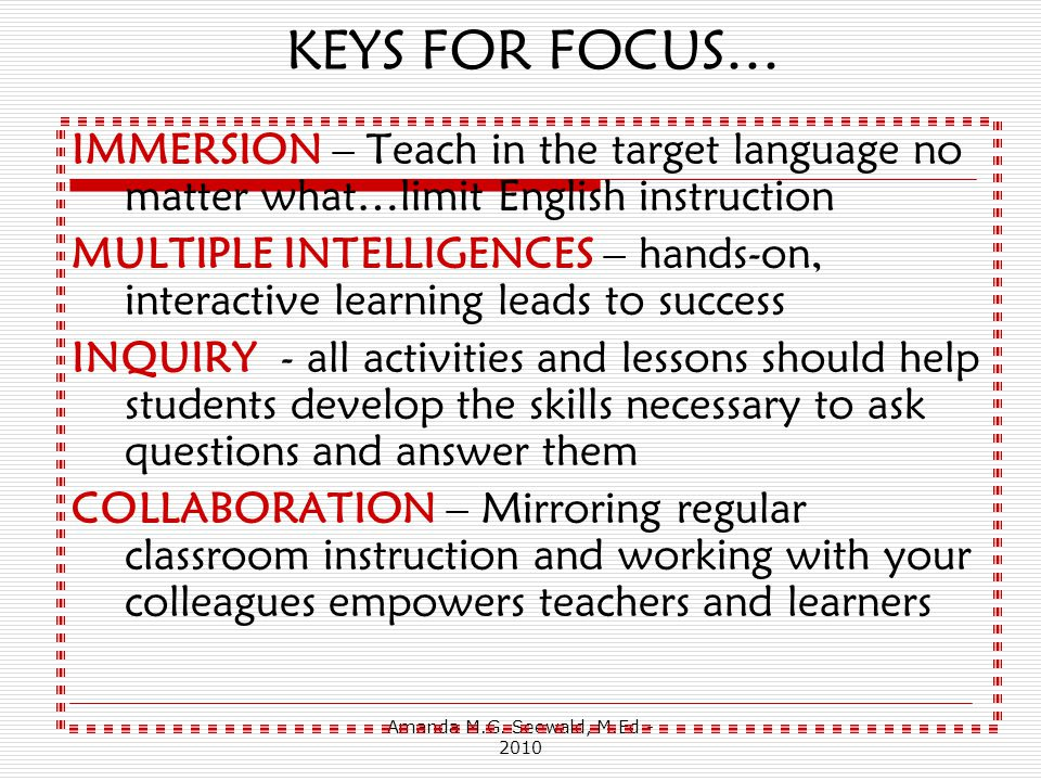 Amanda M.G. Seewald, M.Ed - 2010 How do I fit this into a 20 or 30 minute class.
