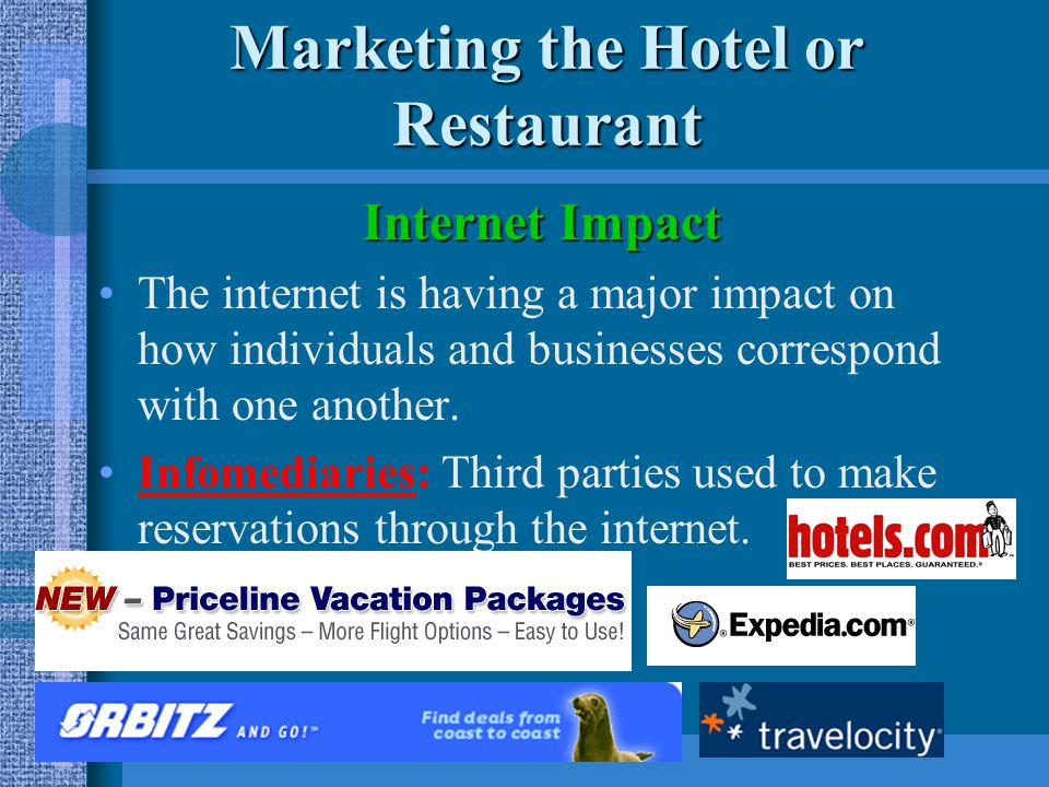 Marketing the Hotel or Restaurant Internet Impact What customers expect –Convenience –Consistency –Information –High-speed access