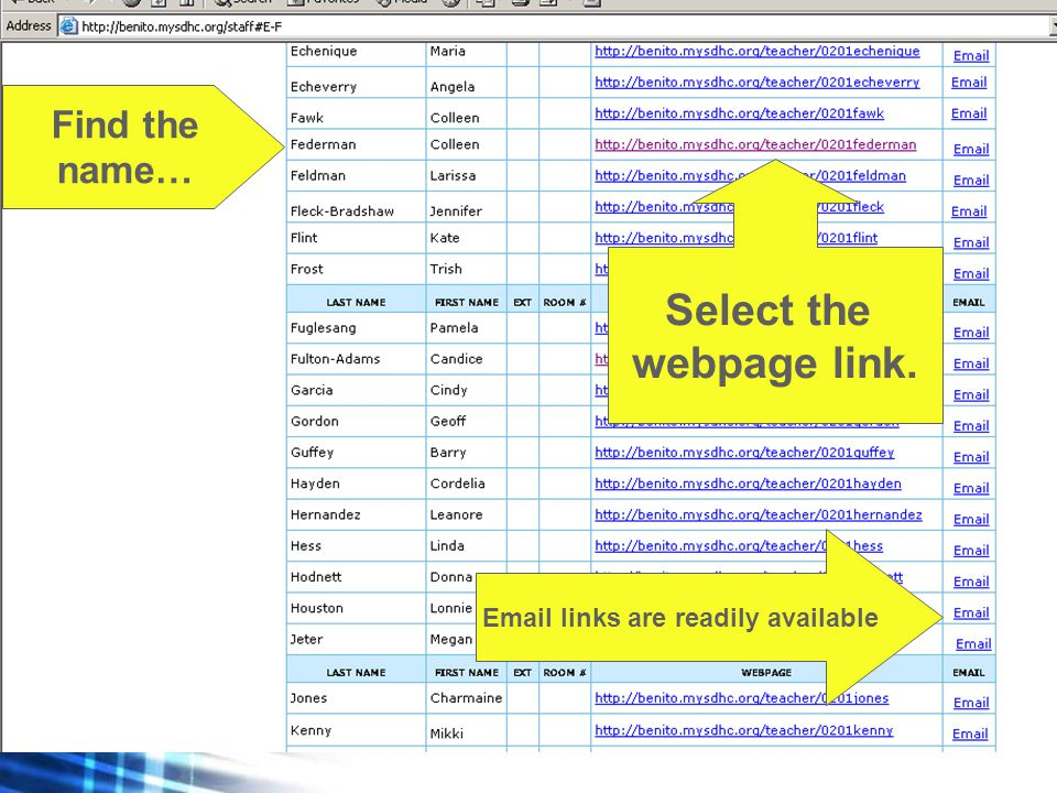 Find the name… Select the webpage link. Email links are readily available