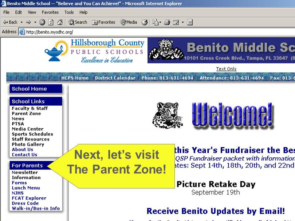 Next, let's visit The Parent Zone!
