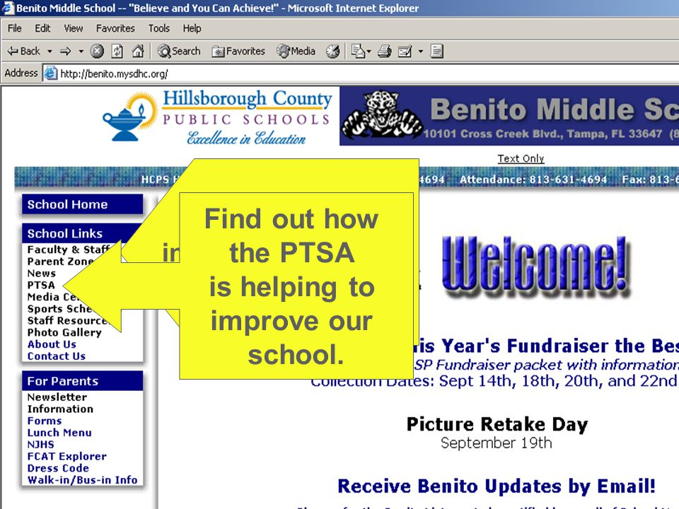 School Links, including access to Teacher webpages.
