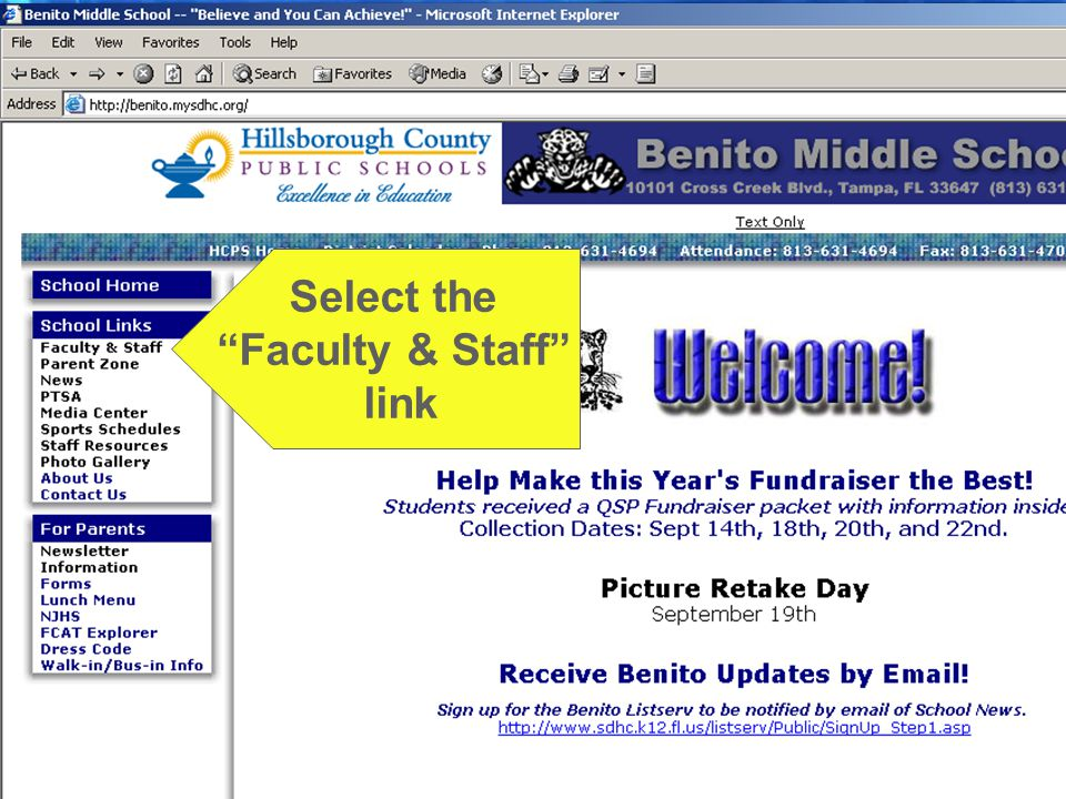 """What about homework? Select the """"Faculty & Staff"""" link"""