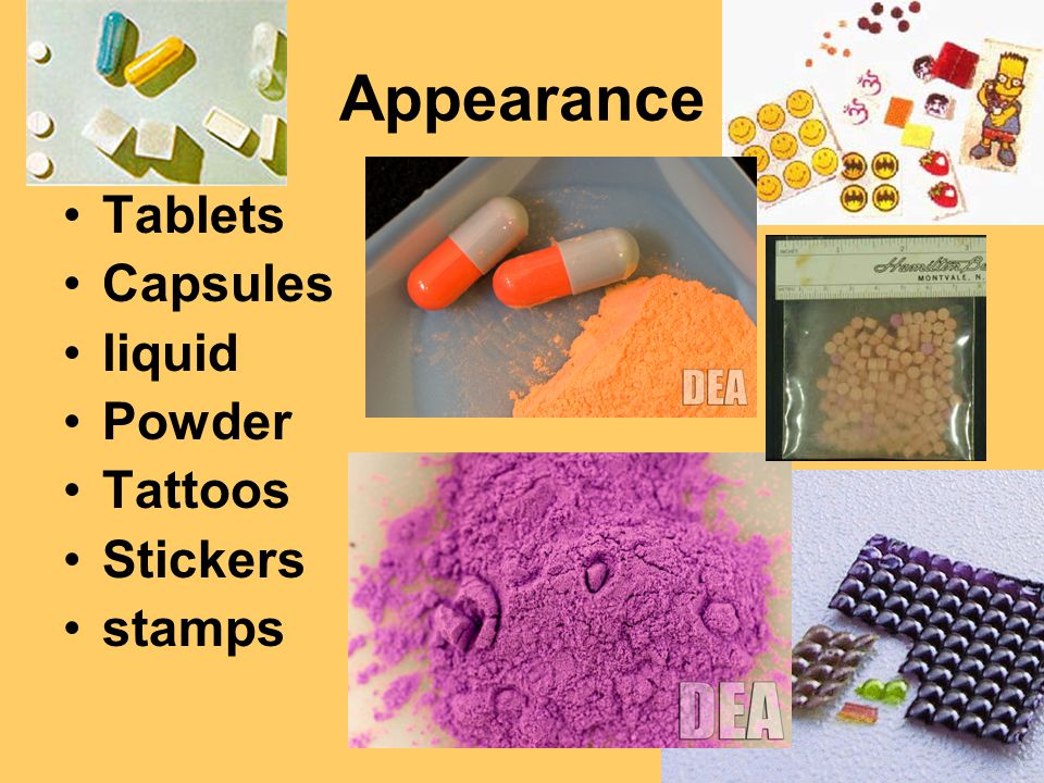 Appearance Tablets Capsules liquid Powder Tattoos Stickers stamps