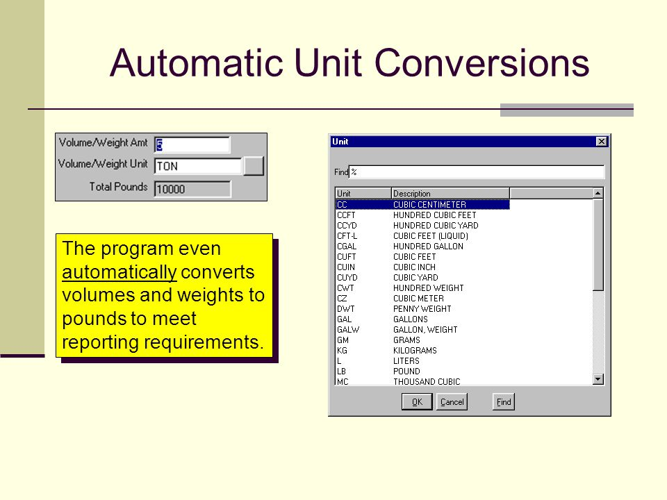 Automatic Unit Conversions The program even automatically converts volumes and weights to pounds to meet reporting requirements.