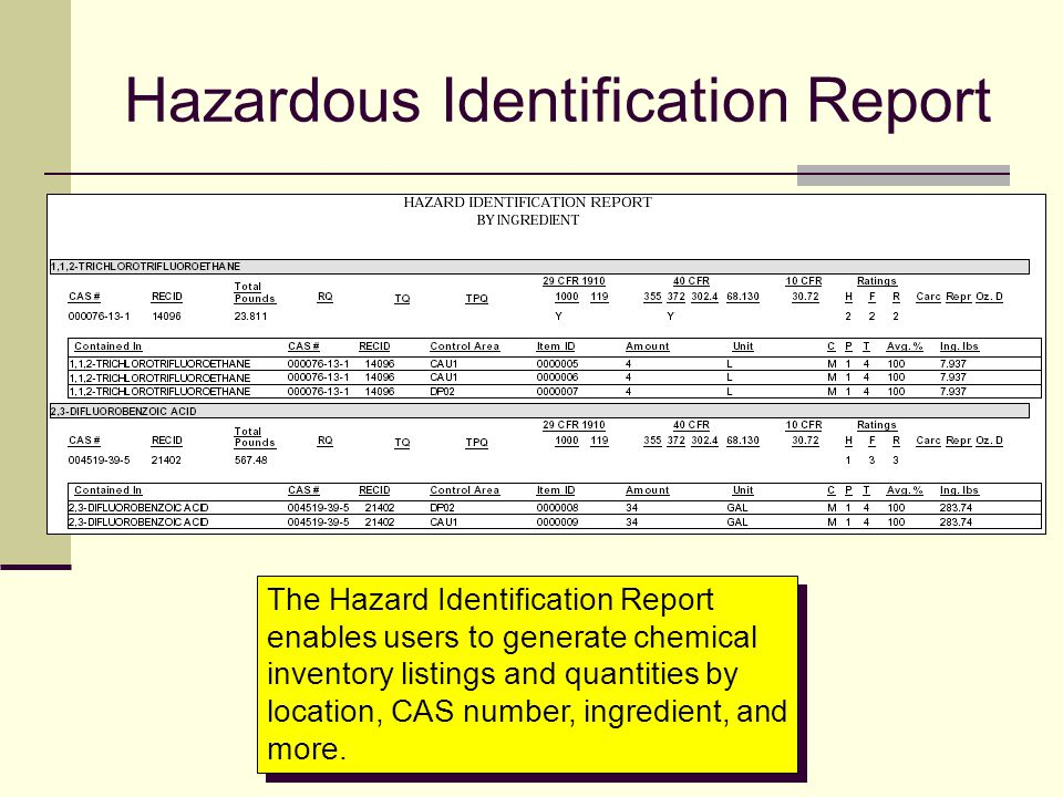 Hazardous Identification Report The Hazard Identification Report enables users to generate chemical inventory listings and quantities by location, CAS
