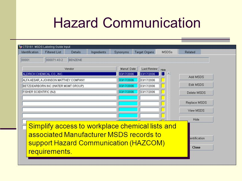 Hazard Communication Simplify access to workplace chemical lists and associated Manufacturer MSDS records to support Hazard Communication (HAZCOM) req