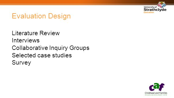 Evaluation Design Literature Review Interviews Collaborative Inquiry Groups Selected case studies Survey