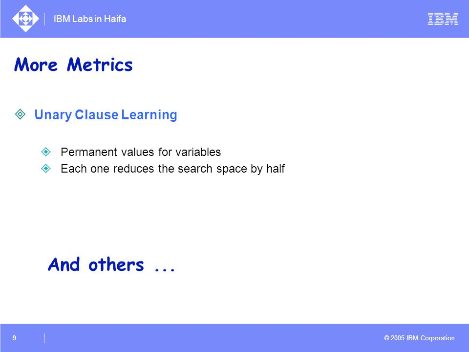IBM Labs in Haifa © 2005 IBM Corporation 9 More Metrics  Unary Clause Learning  Permanent values for variables  Each one reduces the search space b