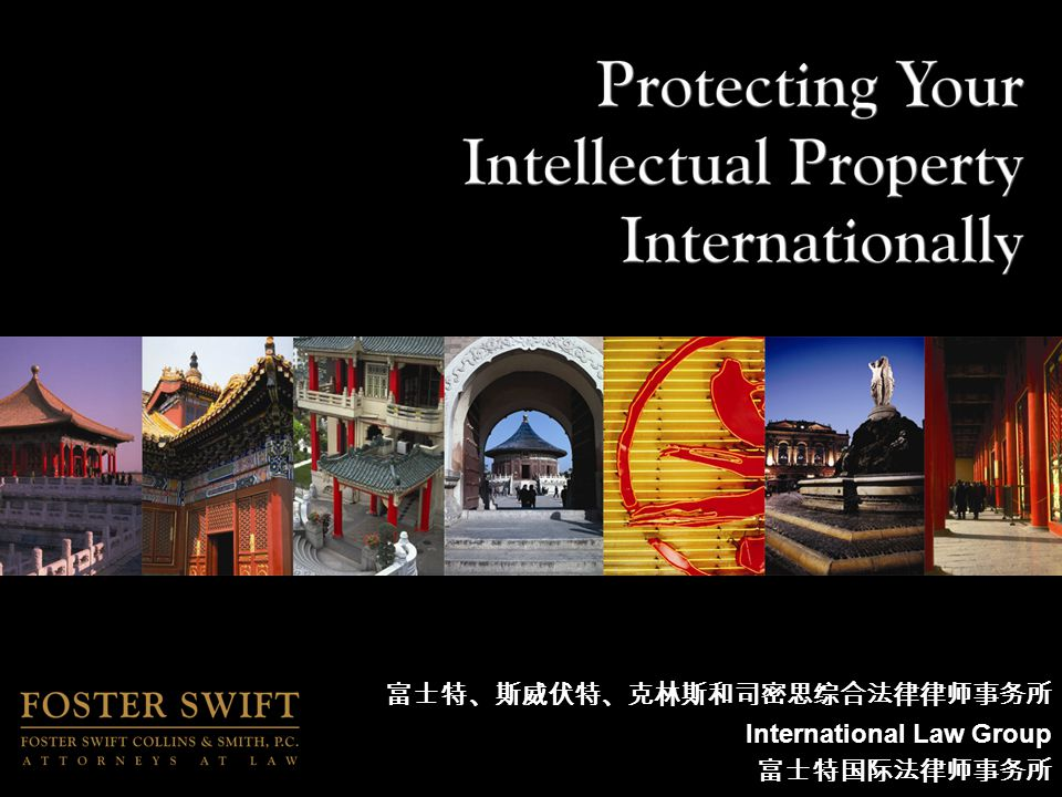 International IP Protection Enforcement of IP Protection –Monitoring –Cease and Desist –Administrative or Court Proceedings