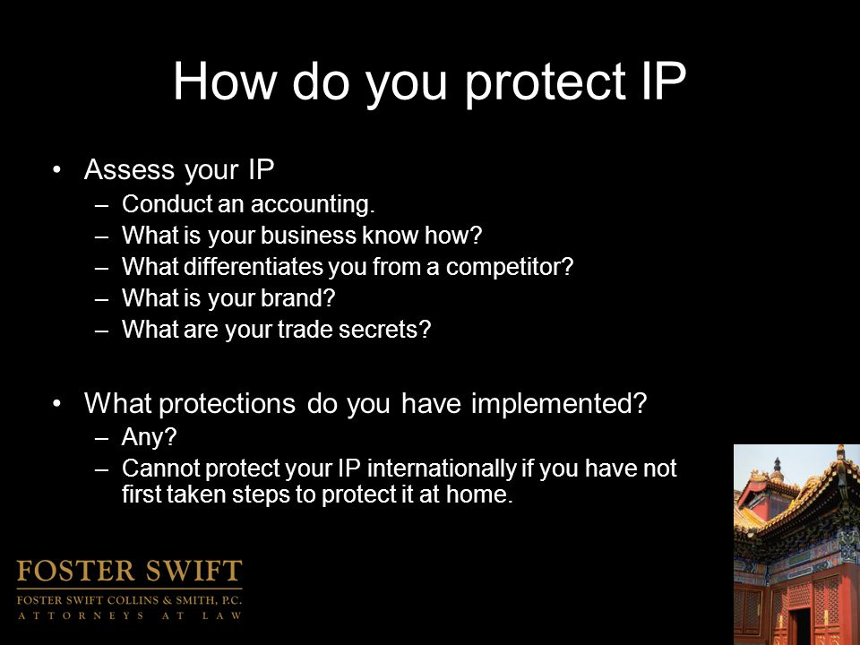 International IP Protection International Trademark Protection –Selection –Search and Clearance –Filing