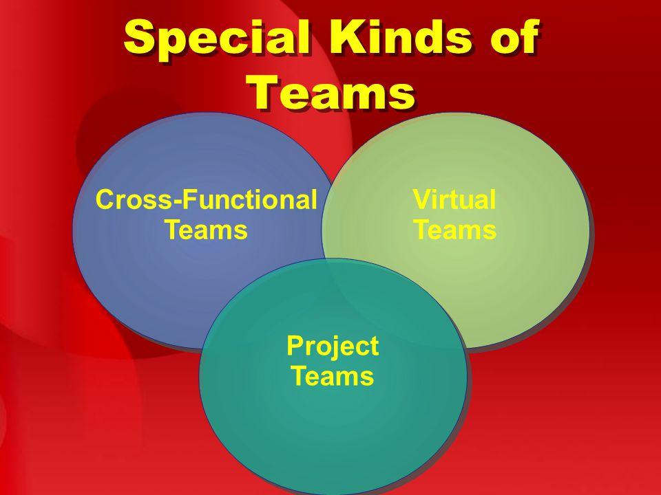 Special Kinds of Teams Cross-Functional Teams Virtual Teams Project Teams