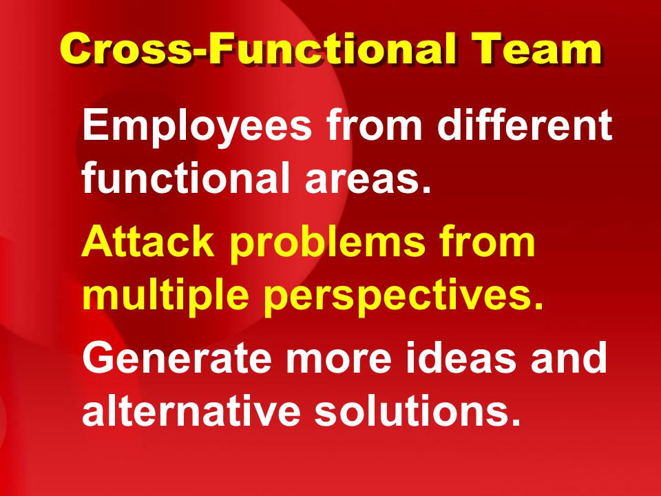 Cross-Functional Team Employees from different functional areas.