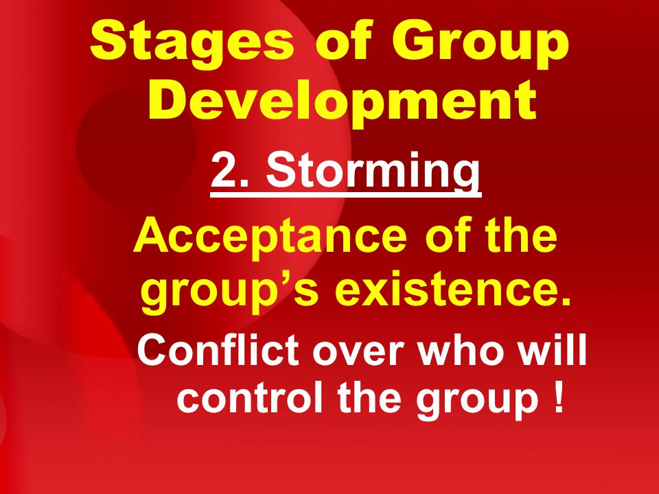 Stages of Group Development 2. Storming Acceptance of the group's existence.
