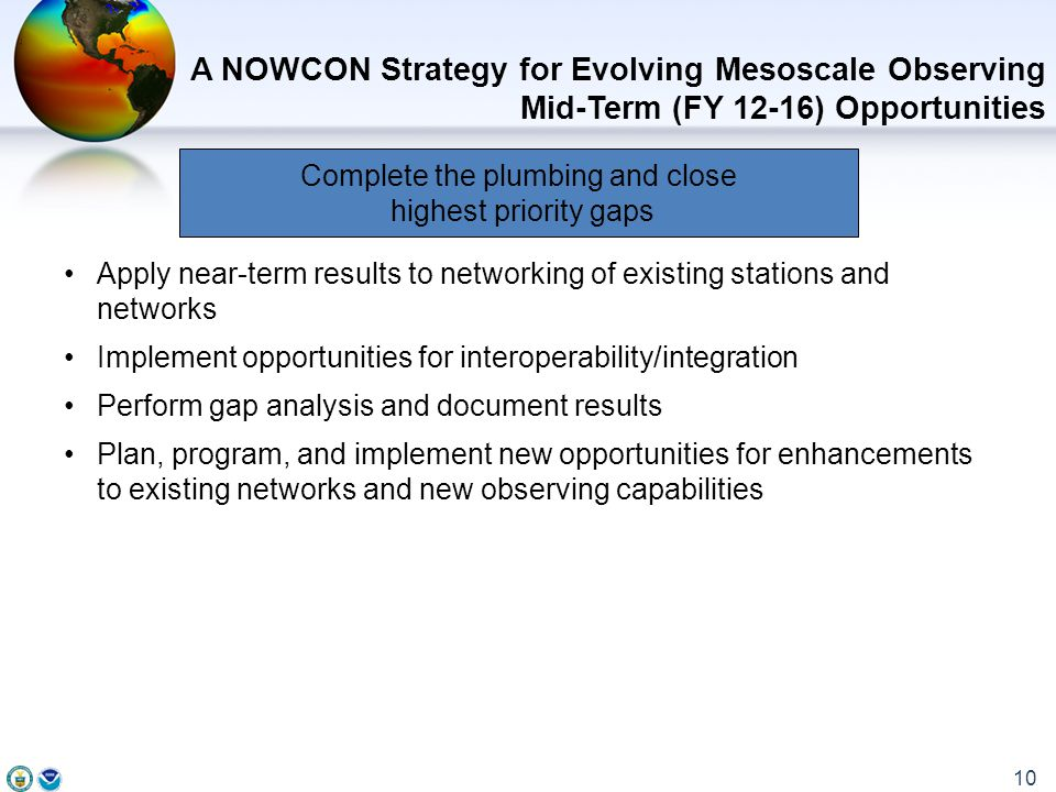 Apply near-term results to networking of existing stations and networks Implement opportunities for interoperability/integration Perform gap analysis and document results Plan, program, and implement new opportunities for enhancements to existing networks and new observing capabilities A NOWCON Strategy for Evolving Mesoscale Observing Mid-Term (FY 12-16) Opportunities 10 Complete the plumbing and close highest priority gaps
