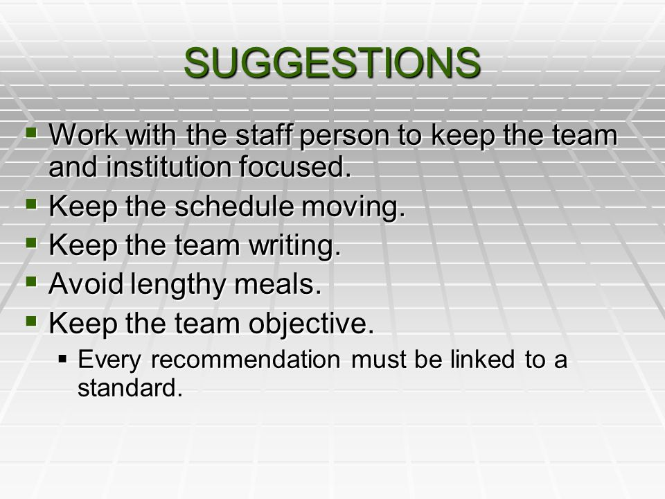 SUGGESTIONS  Work with the staff person to keep the team and institution focused.