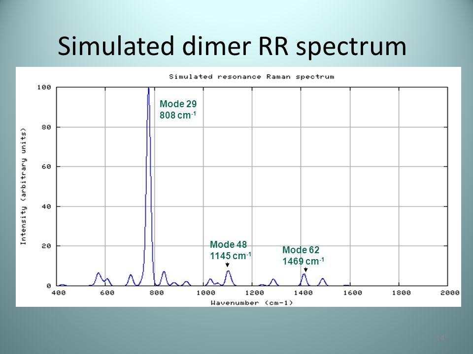Simulated dimer RR spectrum 14 Mode 29 808 cm -1 Mode 48 1145 cm -1 Mode 62 1469 cm -1