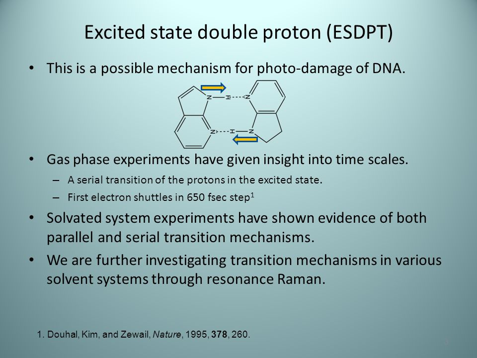Excited state double proton (ESDPT) This is a possible mechanism for photo-damage of DNA. Gas phase experiments have given insight into time scales. –