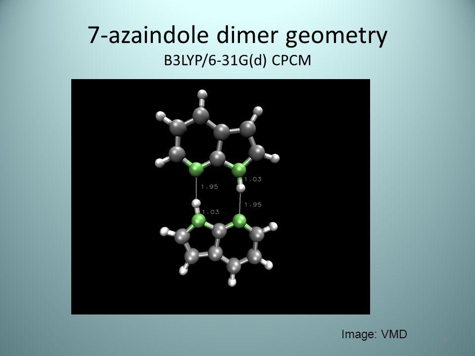 7-azaindole dimer geometry B3LYP/6-31G(d) CPCM 6 Image: VMD