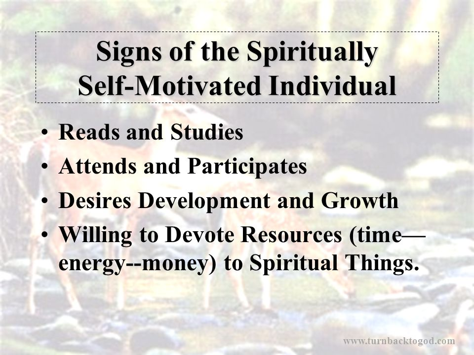 Signs of the Spiritually Self-Motivated Individual Reads and Studies Attends and Participates Desires Development and Growth Willing to Devote Resourc