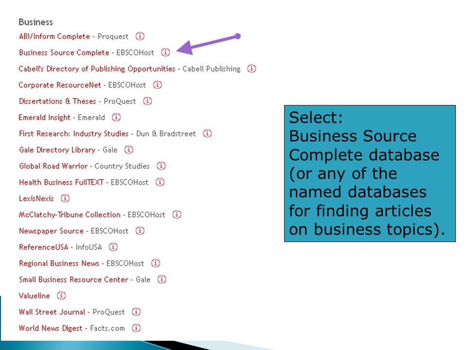 Select: Business Source Complete database (or any of the named databases for finding articles on business topics).