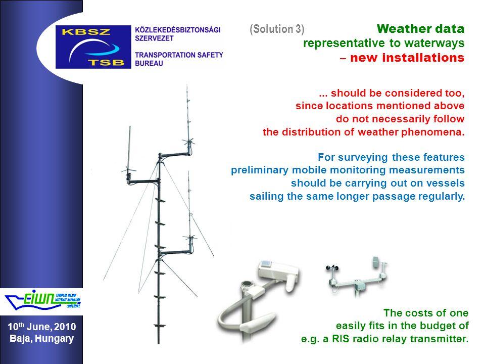 11 10 th June, 2010 Baja, Hungary (Solution 3) Weather data representative to waterways – new installations...