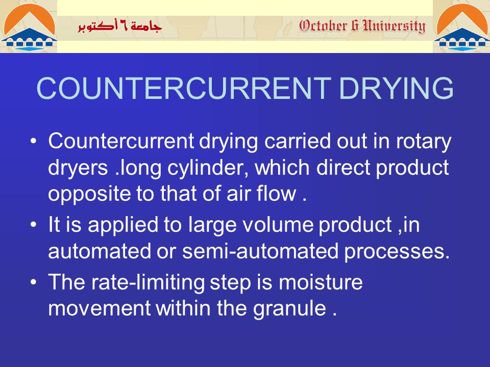 COUNTERCURRENT DRYING Countercurrent drying carried out in rotary dryers.long cylinder, which direct product opposite to that of air flow.