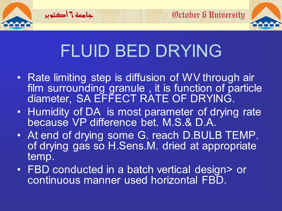 FLUID BED DRYING Rate limiting step is diffusion of WV through air film surrounding granule, it is function of particle diameter, SA EFFECT RATE OF DRYING.