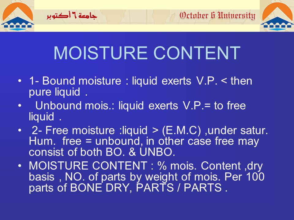 MOISTURE CONTENT 1- Bound moisture : liquid exerts V.P.