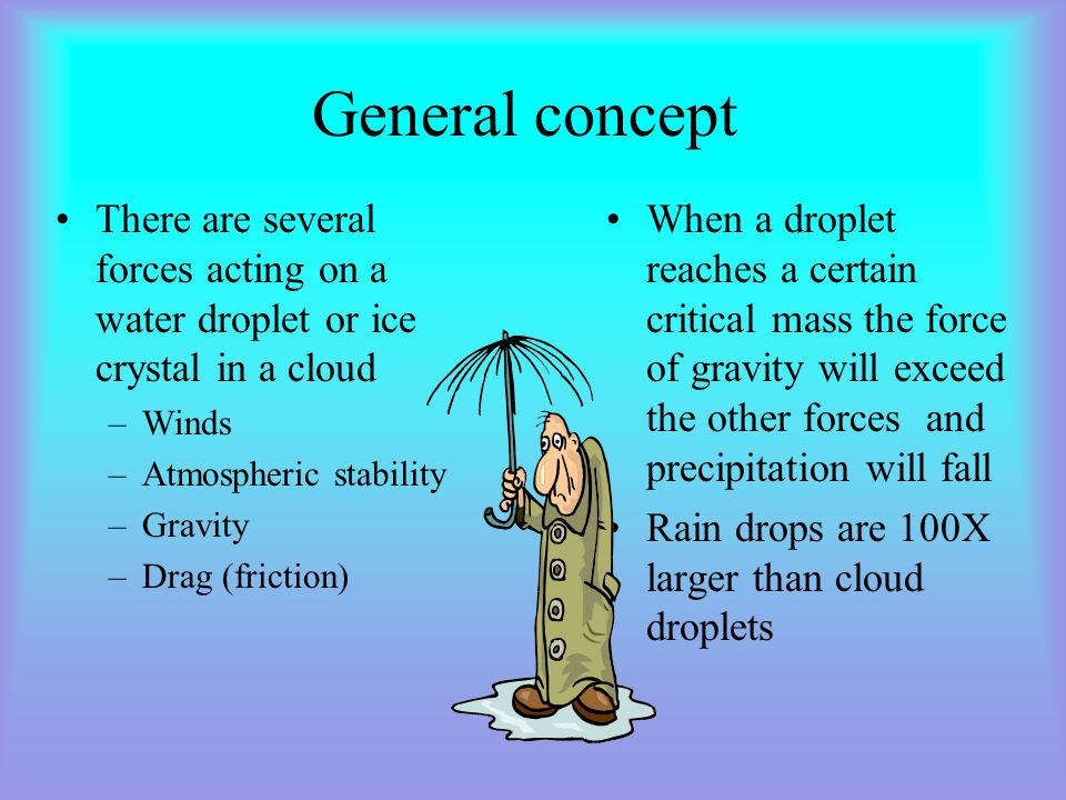 General concept There are several forces acting on a water droplet or ice crystal in a cloud –Winds –Atmospheric stability –Gravity –Drag (friction) When a droplet reaches a certain critical mass the force of gravity will exceed the other forcesand precipitation will fall Rain drops are 100X larger than cloud droplets