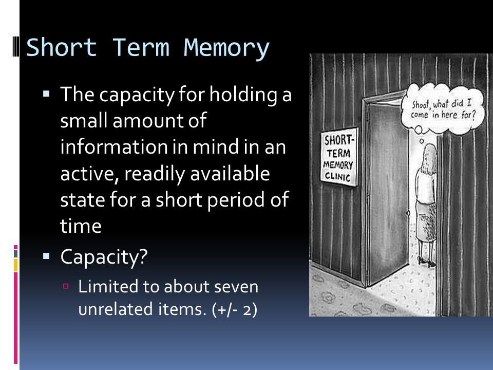 Short Term Memory  The capacity for holding a small amount of information in mind in an active, readily available state for a short period of time  Capacity.