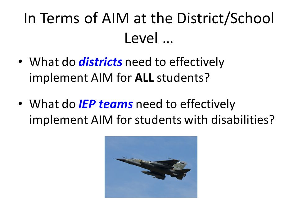 In Terms of AIM at the District/School Level … What do districts need to effectively implement AIM for ALL students.