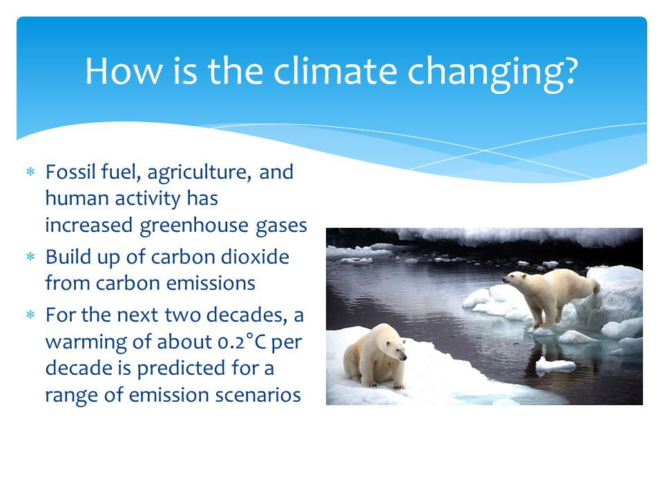 Fossil fuel, agriculture, and human activity has increased greenhouse gases  Build up of carbon dioxide from carbon emissions  For the next two decades, a warming of about 0.2°C per decade is predicted for a range of emission scenarios How is the climate changing?