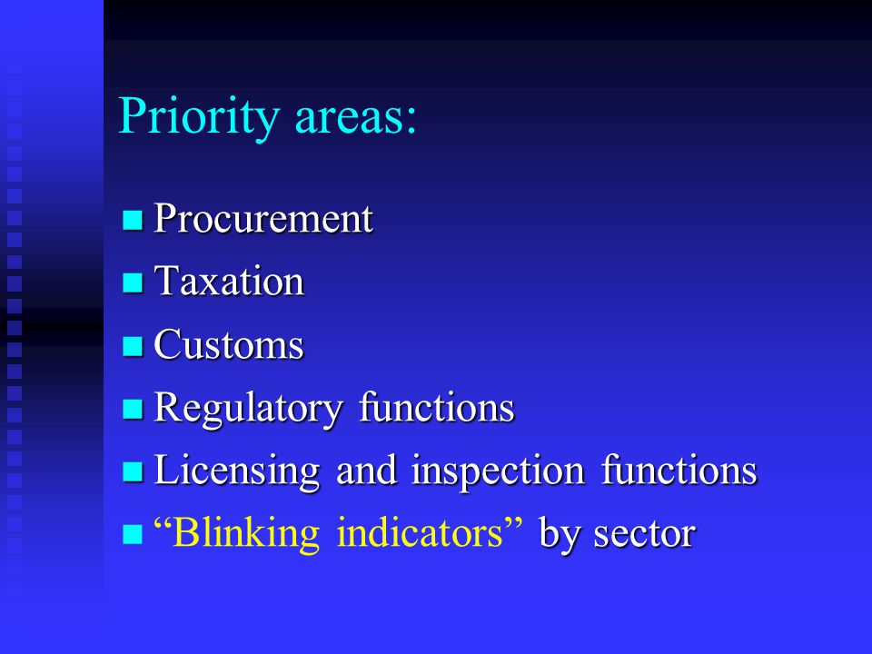 Priority areas: Procurement Procurement Taxation Taxation Customs Customs Regulatory functions Regulatory functions Licensing and inspection functions Licensing and inspection functions by sector Blinking indicators by sector
