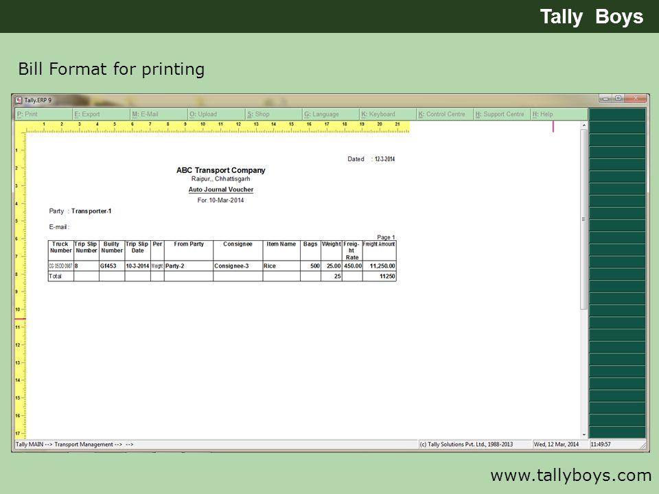 Bill Format for printing Tally Boys www.tallyboys.com
