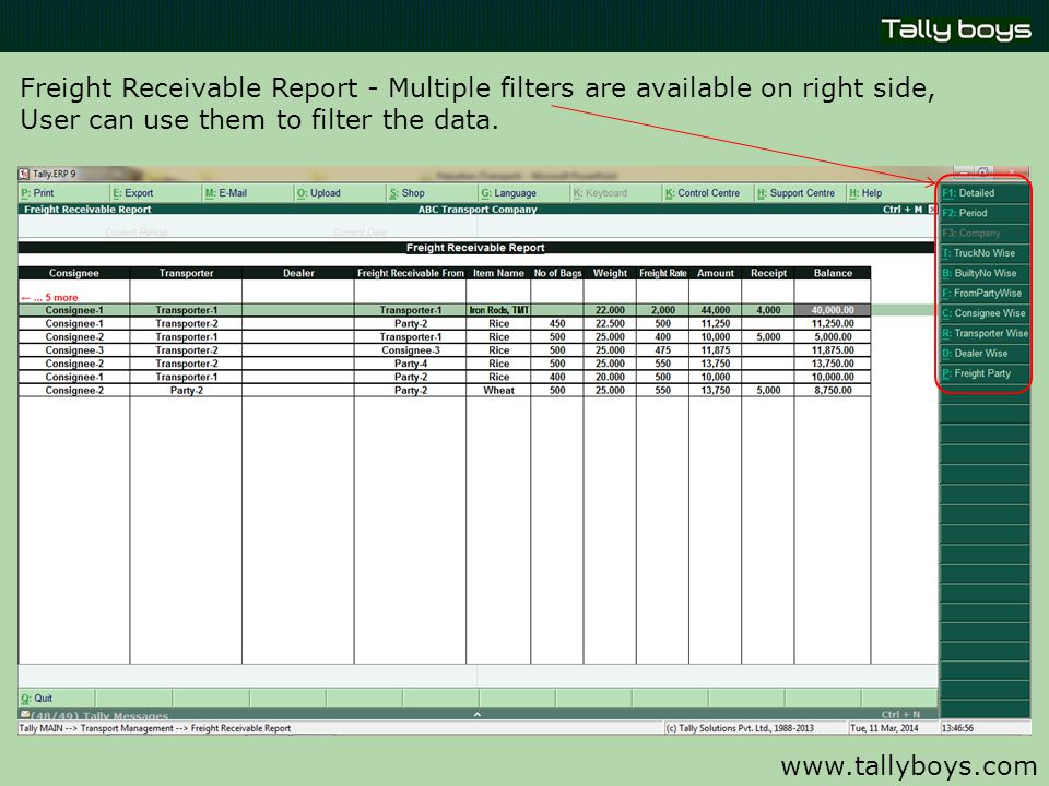 www.tallyboys.com Freight Receivable Report - Multiple filters are available on right side, User can use them to filter the data.