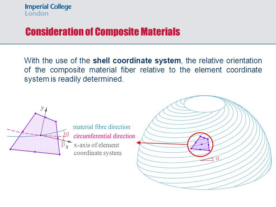 α Consideration of Composite Materials α β x-axis of element coordinate system With the use of the shell coordinate system, the relative orientation of the composite material fiber relative to the element coordinate system is readily determined.
