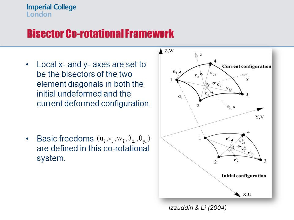 Bisector Co-rotational Framework Local x- and y- axes are set to be the bisectors of the two element diagonals in both the initial undeformed and the current deformed configuration.