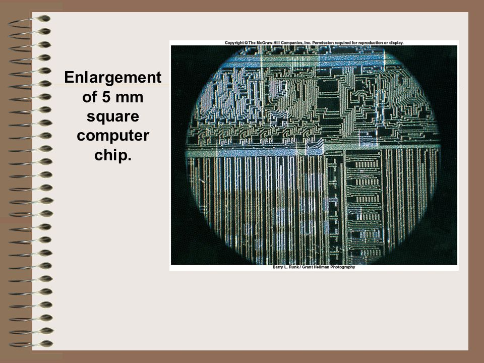 Enlargement of 5 mm square computer chip.