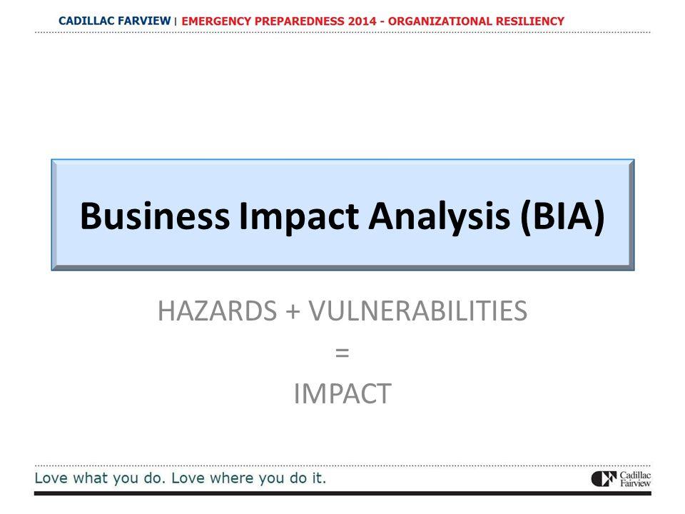 Business Impact Analysis (BIA) HAZARDS + VULNERABILITIES = IMPACT