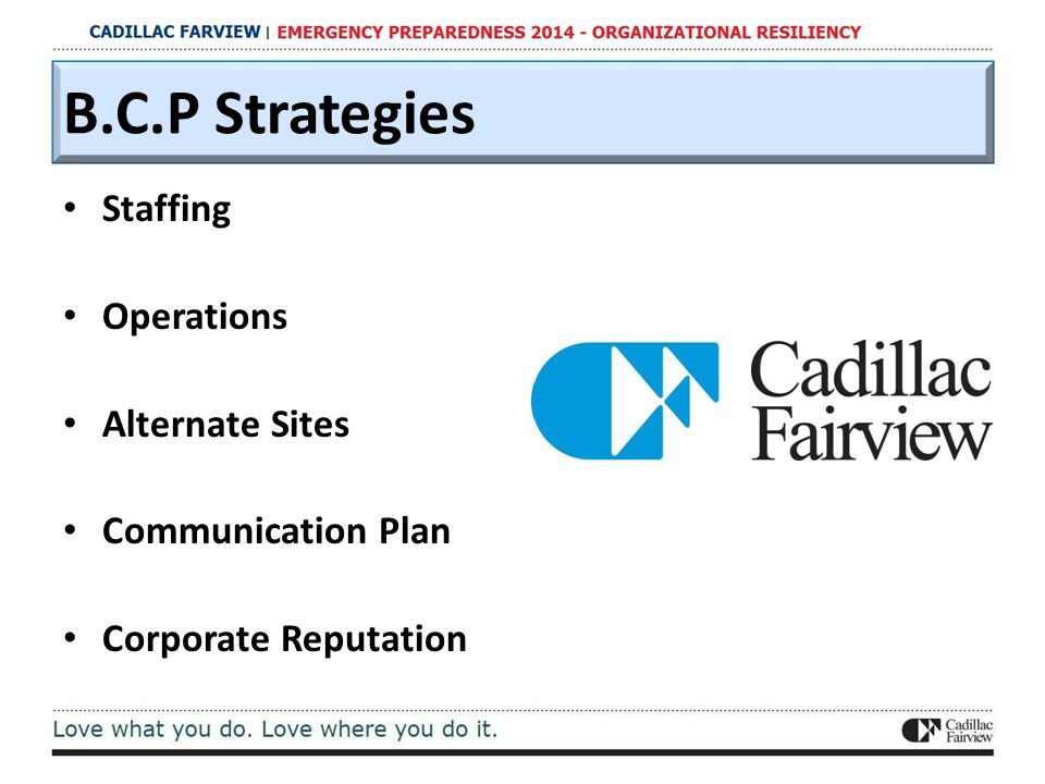 B.C.P Strategies Staffing Operations Alternate Sites Communication Plan Corporate Reputation